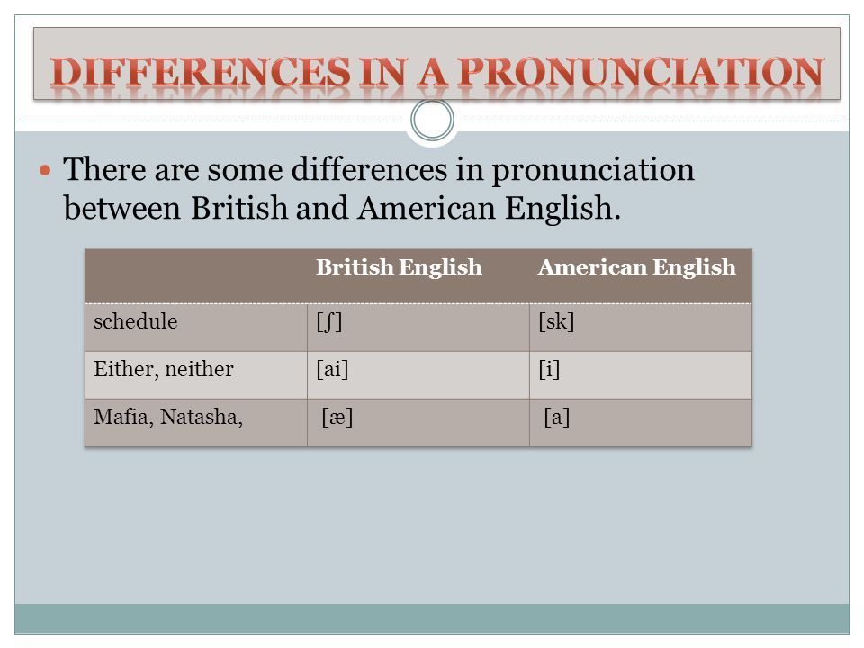 Differences in a pronunciation