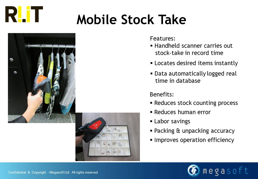 Mobile Stock Take Features: Handheld scanner carries out