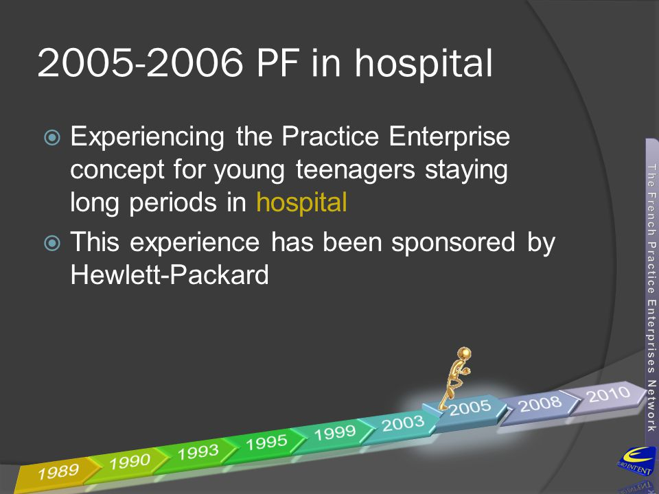 2005-2006 PF in hospital Experiencing the Practice Enterprise concept for young teenagers staying long periods in hospital.