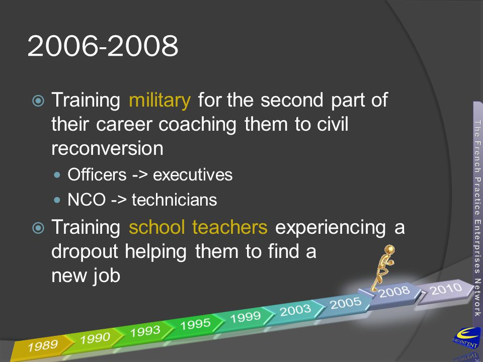 2006-2008 Training military for the second part of their career coaching them to civil reconversion.