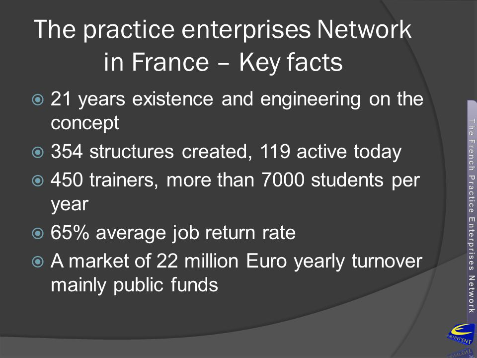 The practice enterprises Network in France – Key facts