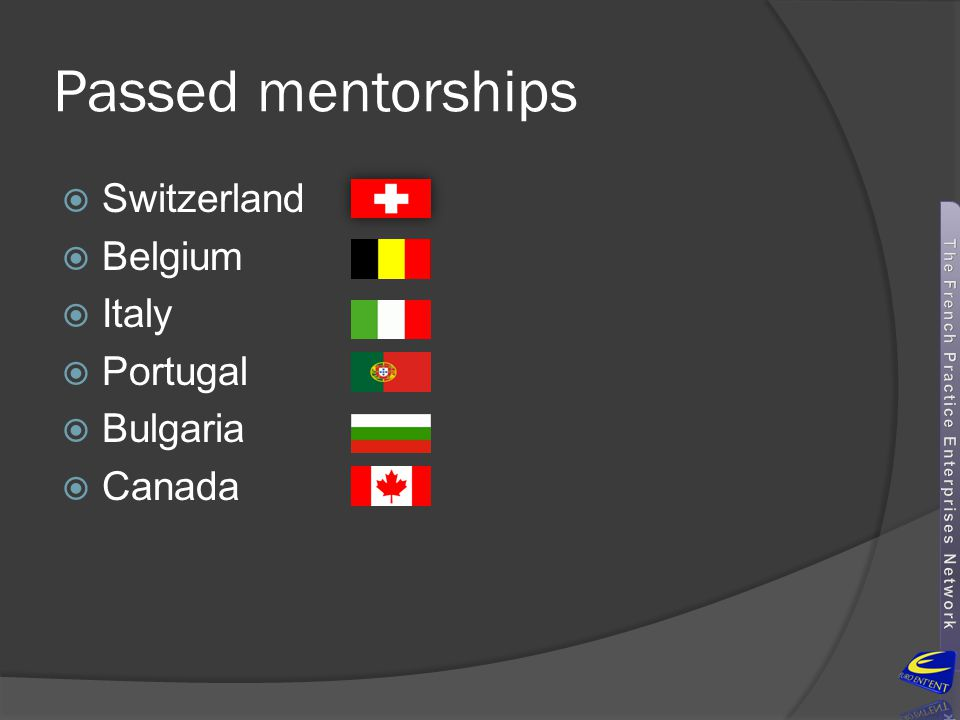 Passed mentorships Switzerland Belgium Italy Portugal Bulgaria Canada