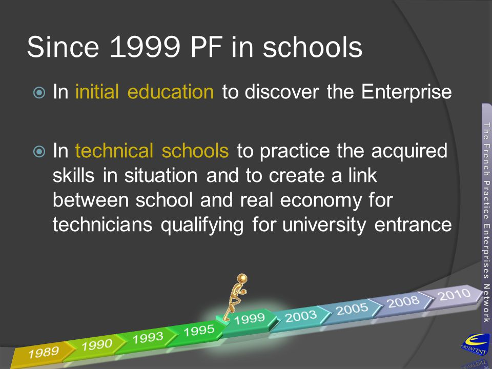 Since 1999 PF in schools In initial education to discover the Enterprise.