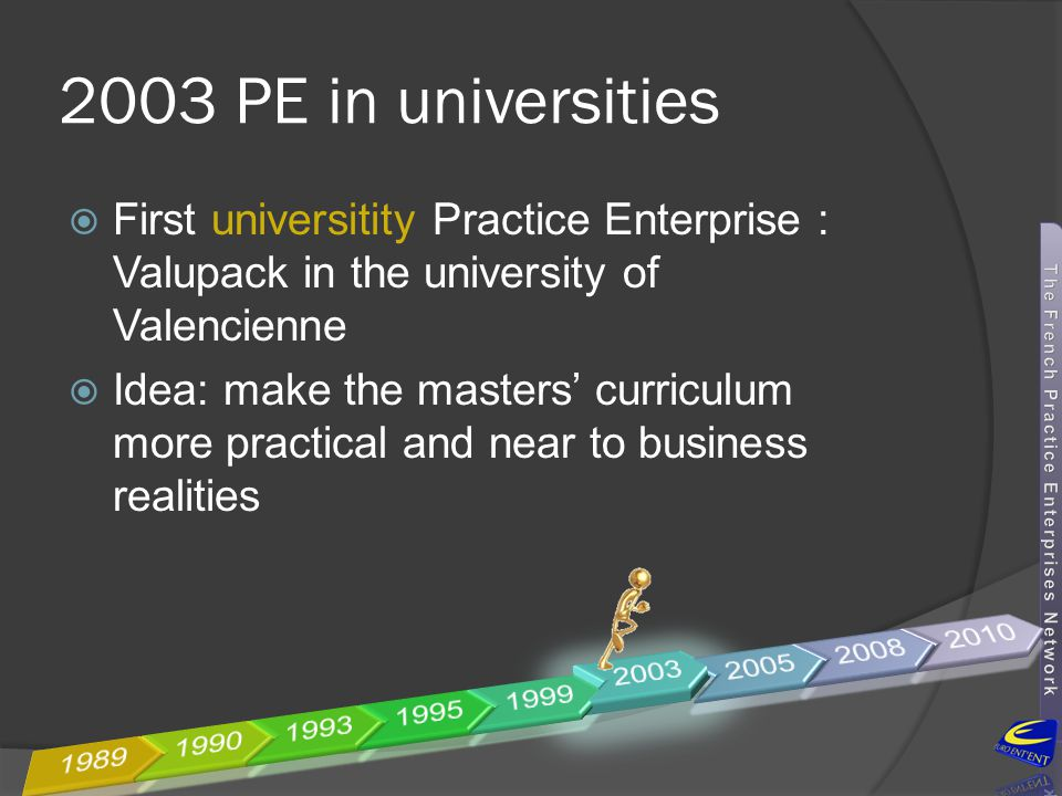 2003 PE in universities First universitity Practice Enterprise : Valupack in the university of Valencienne.