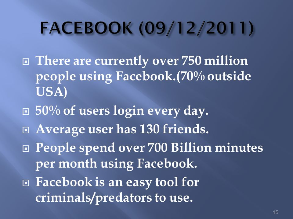 FACEBOOK (09/12/2011) There are currently over 750 million people using Facebook.(70% outside USA) 50% of users login every day.