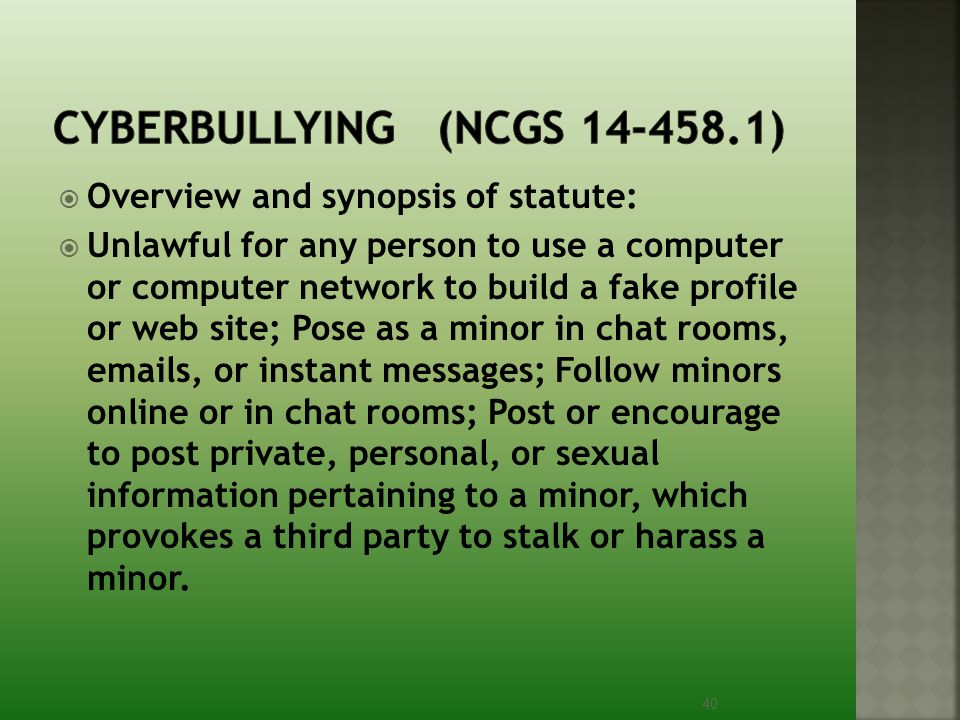 Cyberbullying (NCGS 14-458.1)