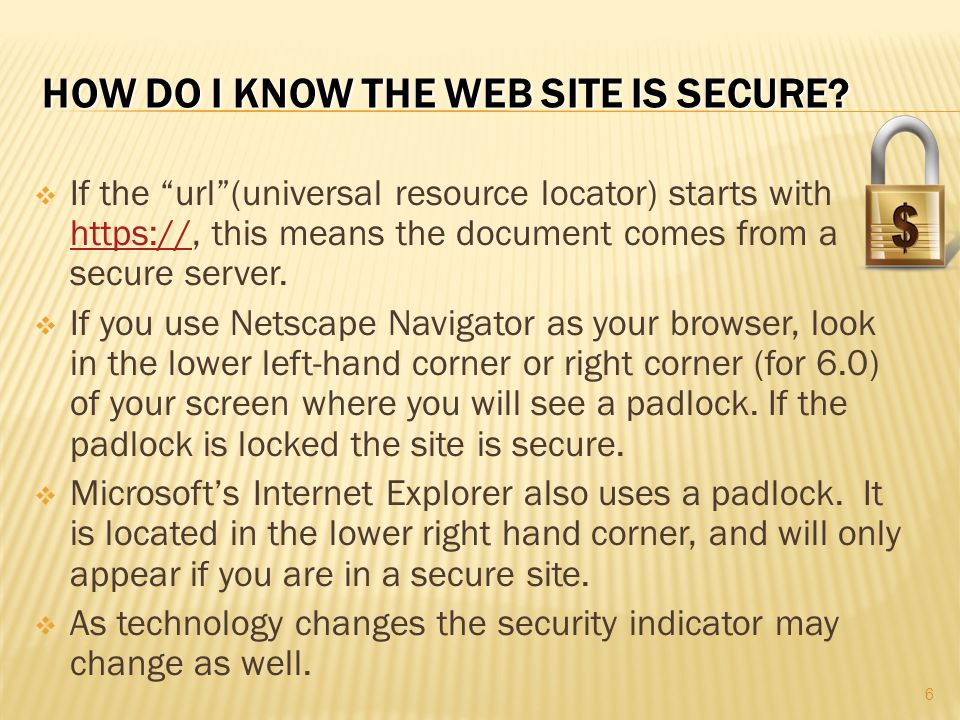 How do I know the web site is secure