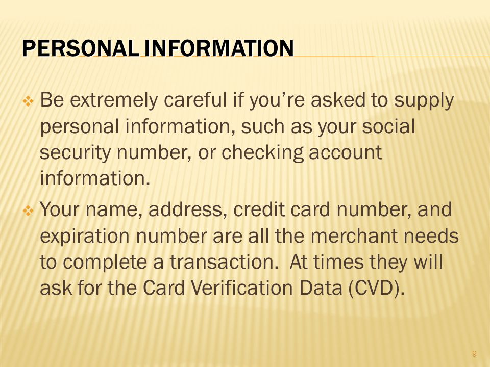 Personal Information