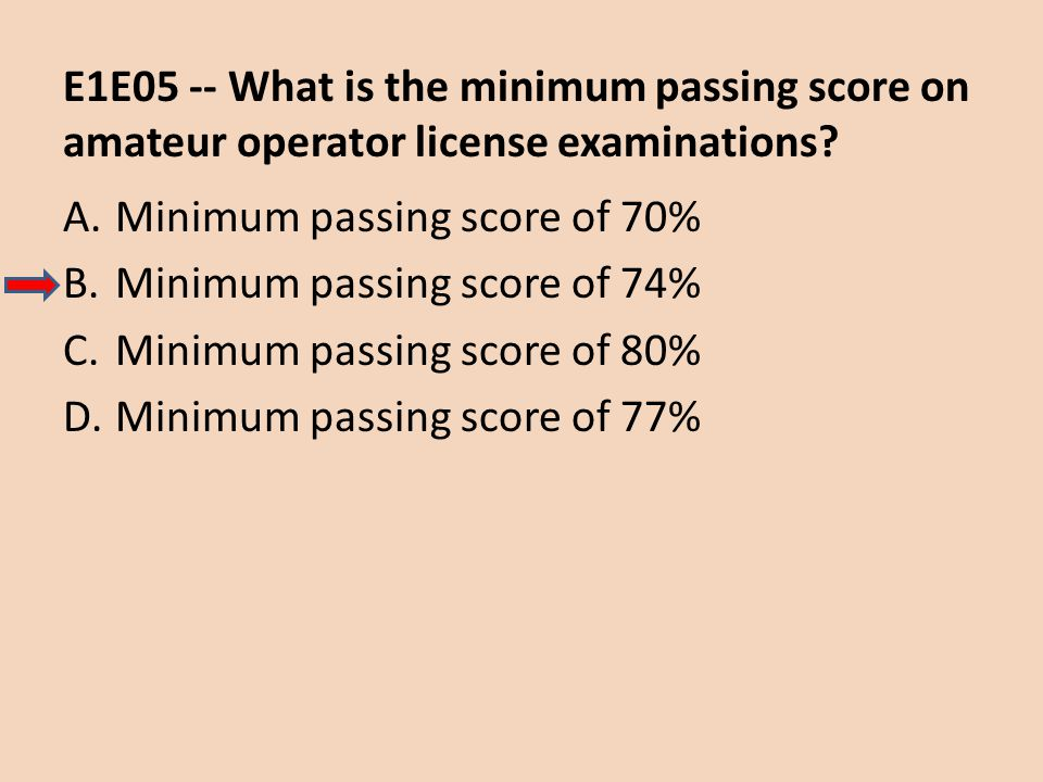E1E05 -- What is the minimum passing score on amateur operator license examinations