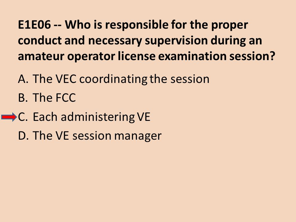 E1E06 -- Who is responsible for the proper conduct and necessary supervision during an amateur operator license examination session