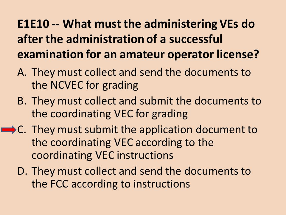 E1E10 -- What must the administering VEs do after the administration of a successful examination for an amateur operator license