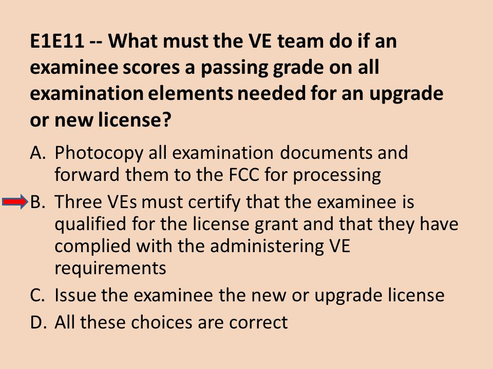 E1E11 -- What must the VE team do if an examinee scores a passing grade on all examination elements needed for an upgrade or new license