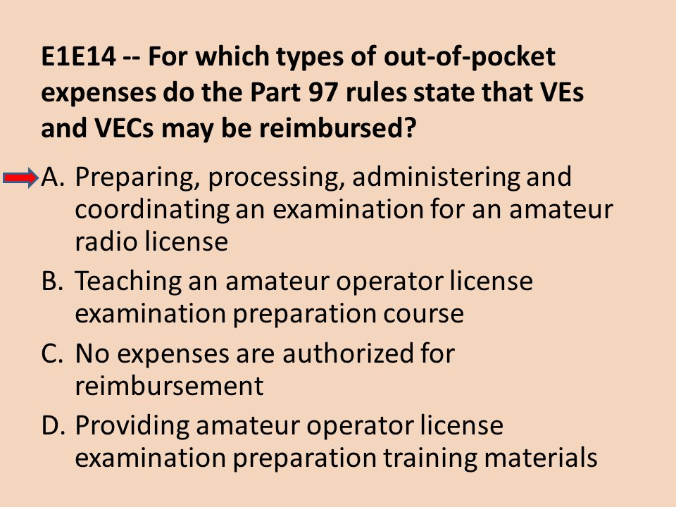 E1E14 -- For which types of out-of-pocket expenses do the Part 97 rules state that VEs and VECs may be reimbursed