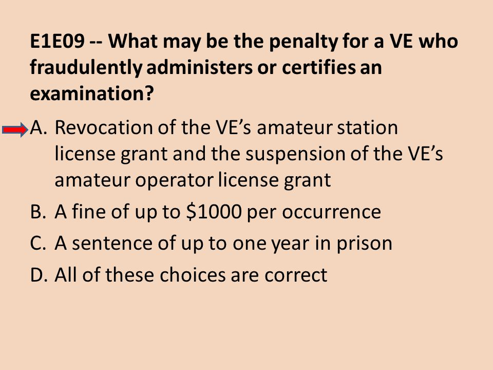 E1E09 -- What may be the penalty for a VE who fraudulently administers or certifies an examination