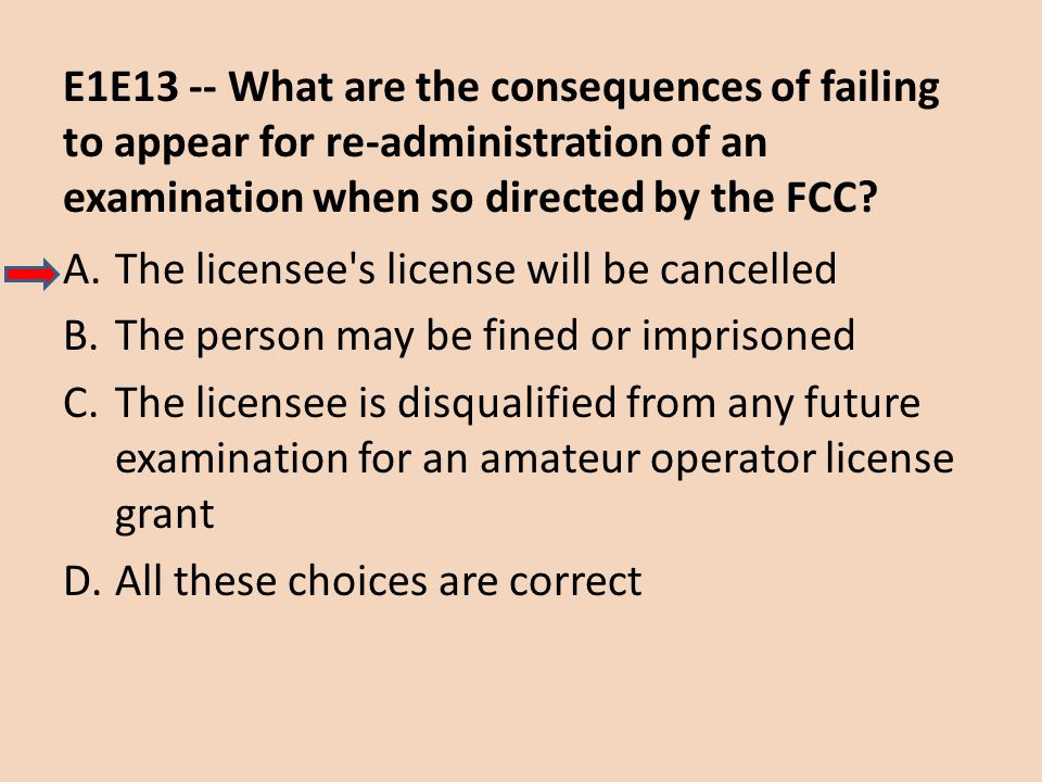 E1E13 -- What are the consequences of failing to appear for re-administration of an examination when so directed by the FCC