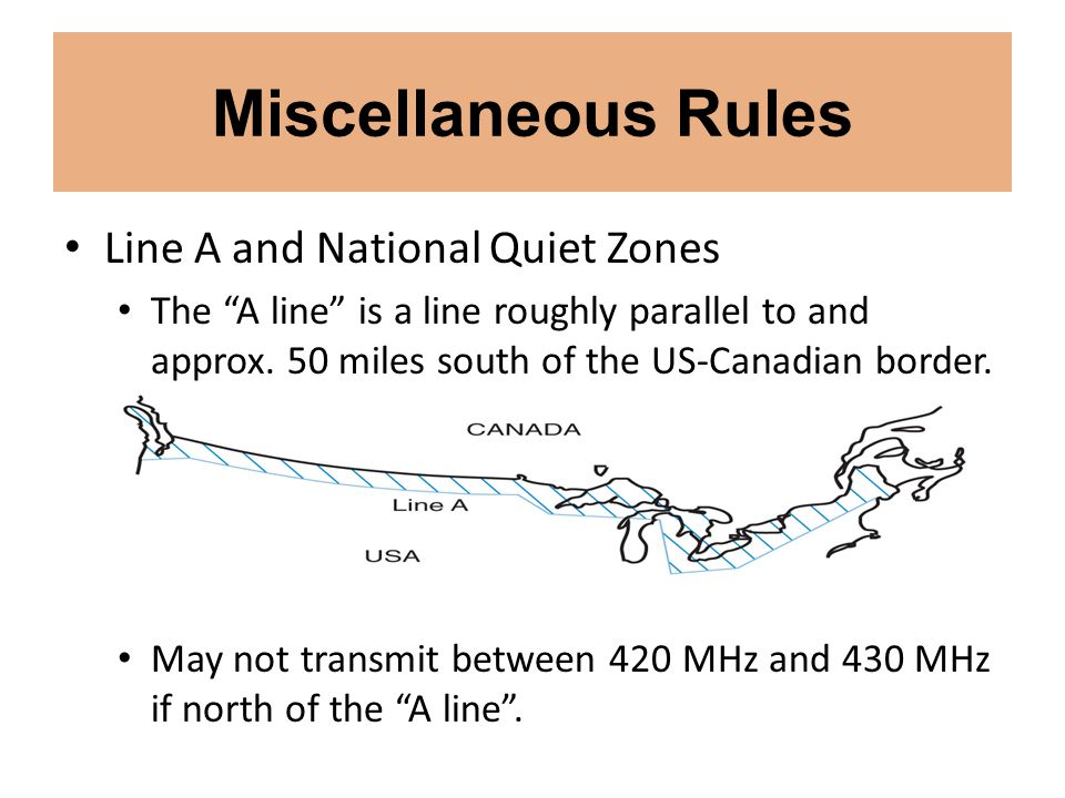 Miscellaneous Rules Line A and National Quiet Zones