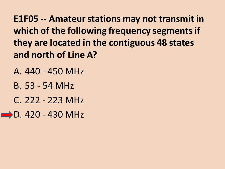 E1F05 -- Amateur stations may not transmit in which of the following frequency segments if they are located in the contiguous 48 states and north of Line A