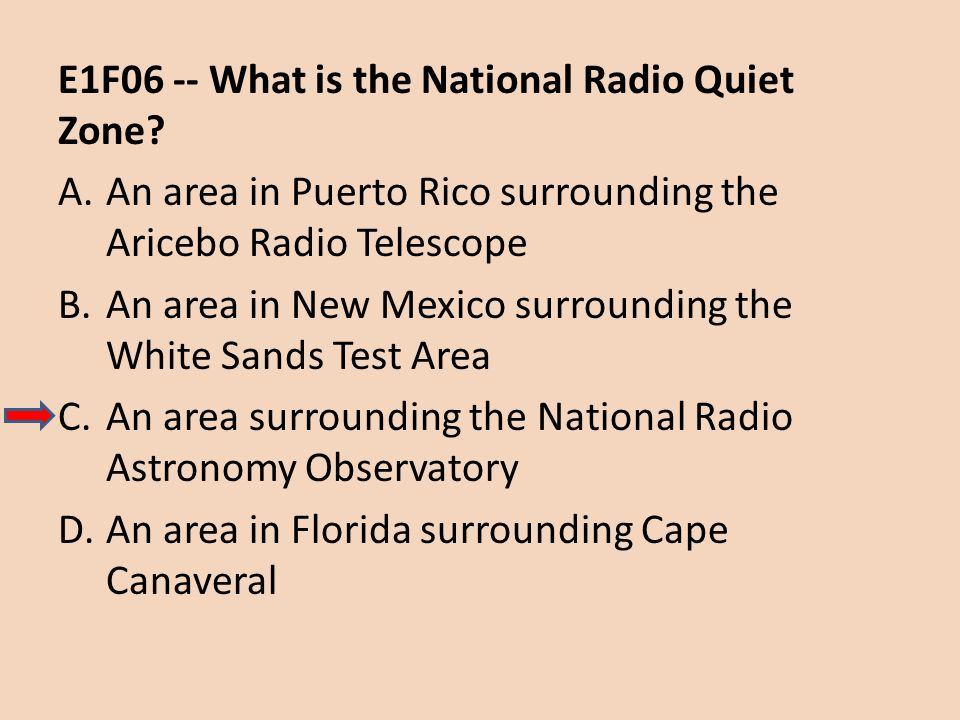 E1F06 -- What is the National Radio Quiet Zone