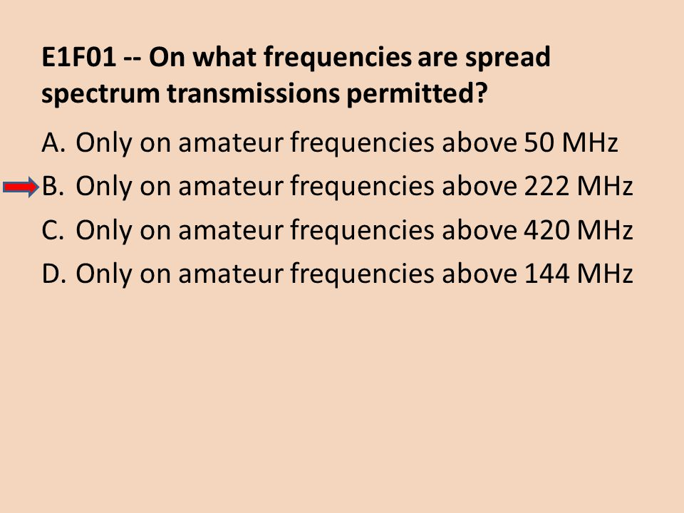 E1F01 -- On what frequencies are spread spectrum transmissions permitted