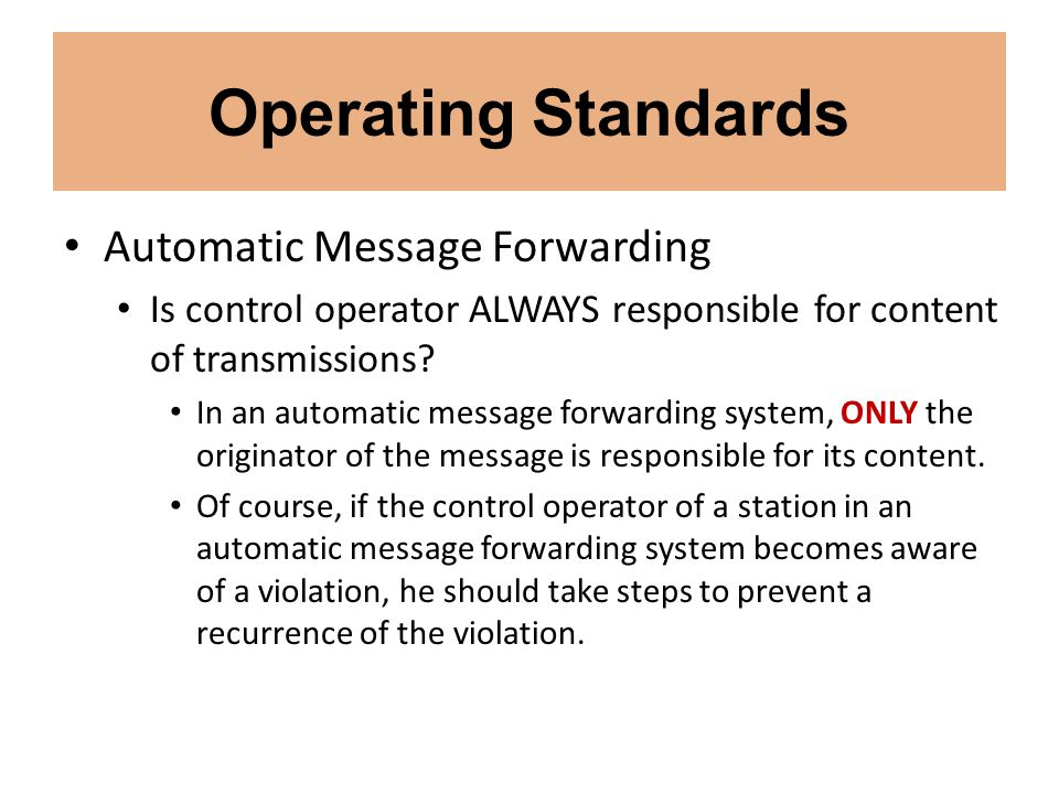 Operating Standards Automatic Message Forwarding
