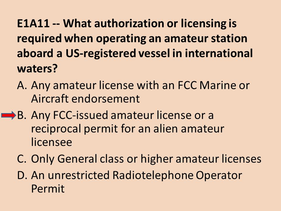 E1A11 -- What authorization or licensing is required when operating an amateur station aboard a US-registered vessel in international waters