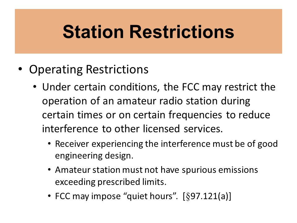 Station Restrictions Operating Restrictions