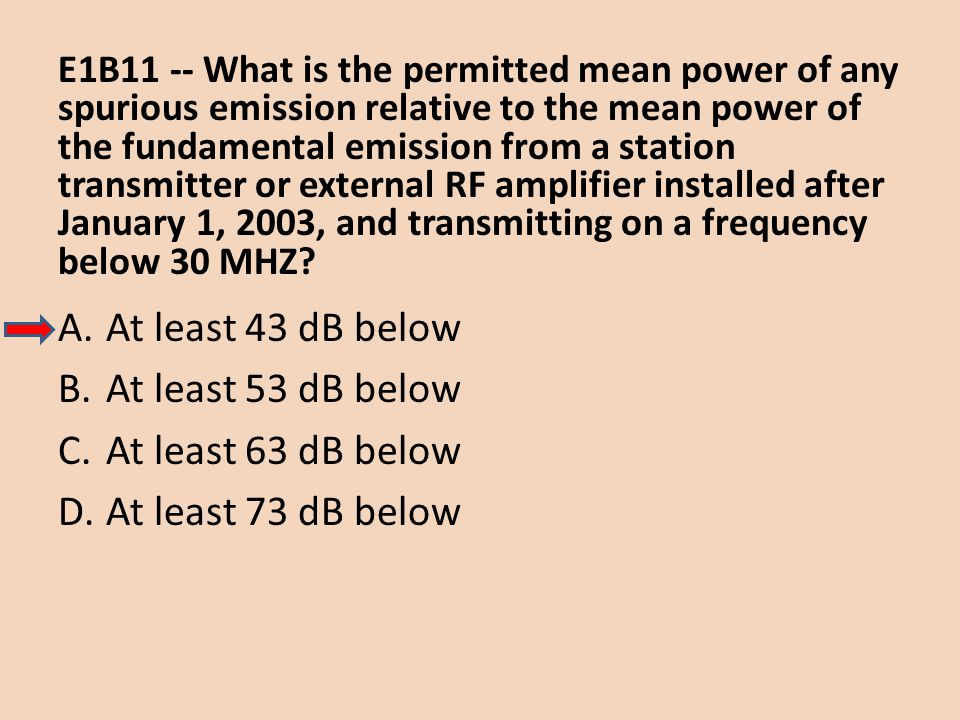 At least 43 dB below At least 53 dB below At least 63 dB below