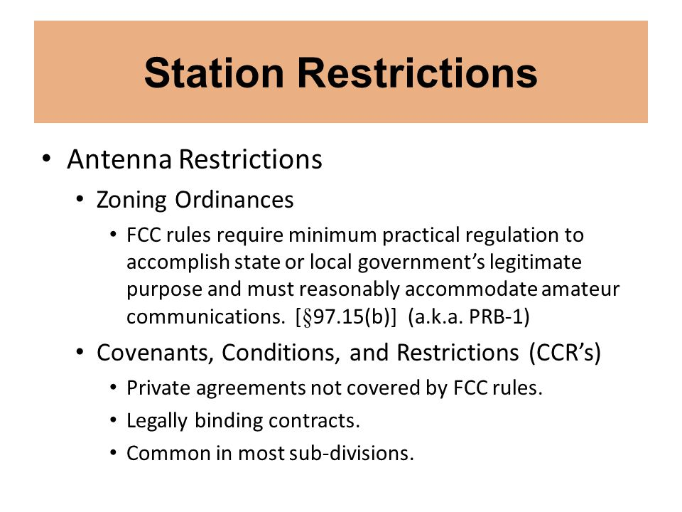 Station Restrictions Antenna Restrictions Zoning Ordinances