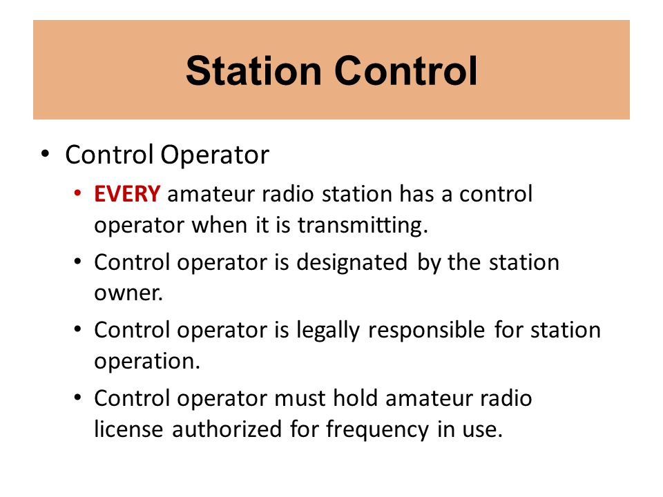 Station Control Control Operator