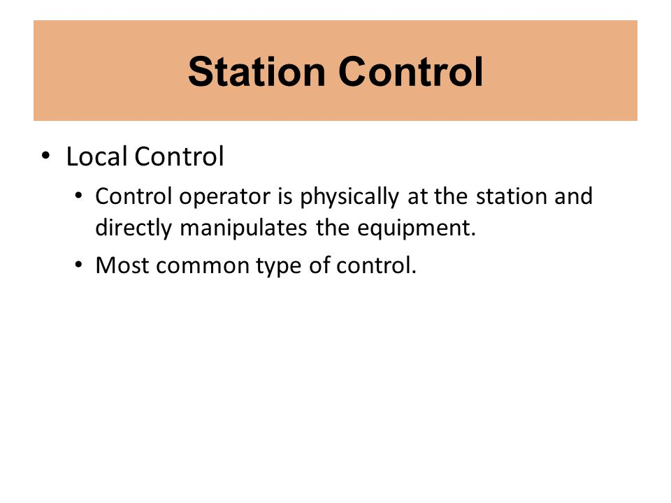 Station Control Local Control