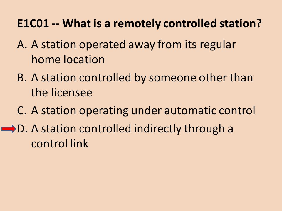 E1C01 -- What is a remotely controlled station