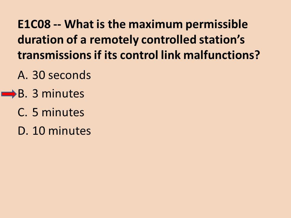 E1C08 -- What is the maximum permissible duration of a remotely controlled station's transmissions if its control link malfunctions