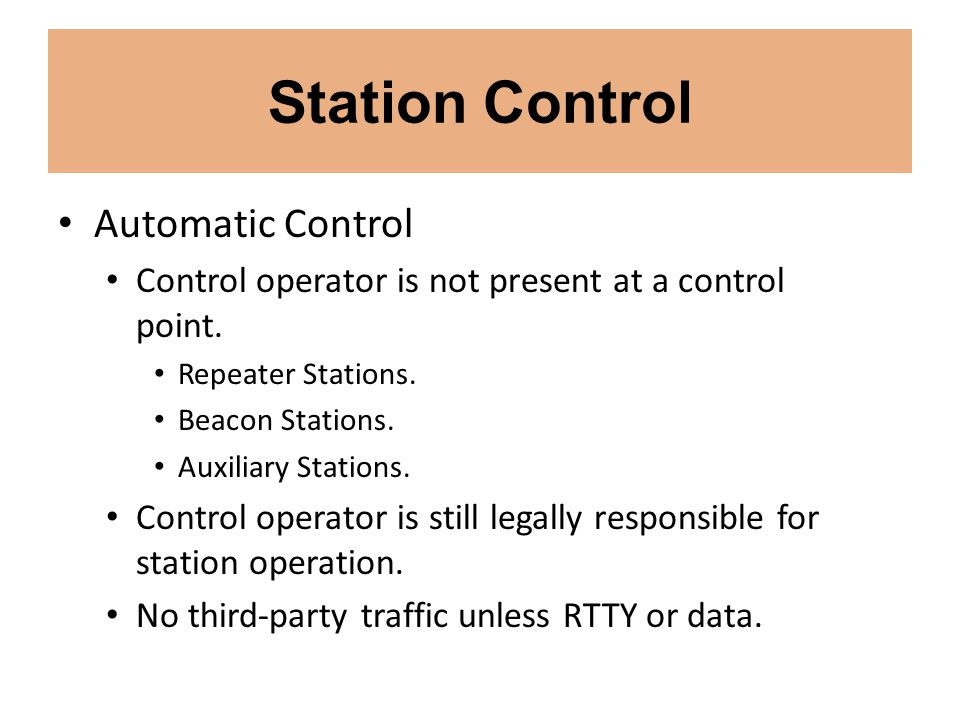 Station Control Automatic Control