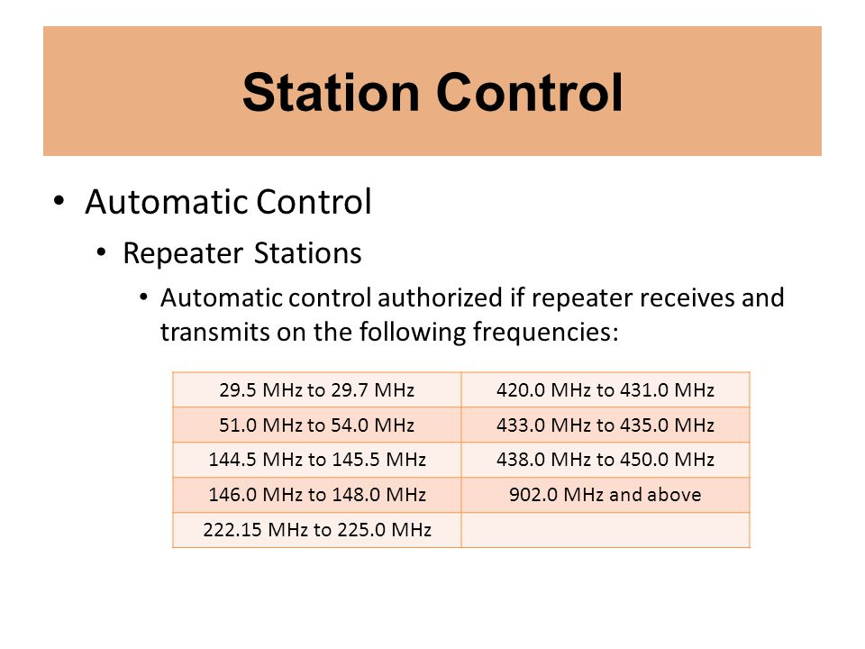 Station Control Automatic Control Repeater Stations
