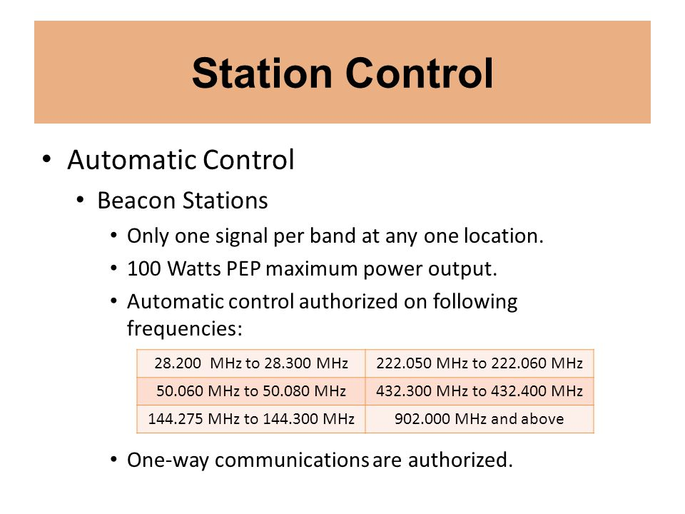Station Control Automatic Control Beacon Stations