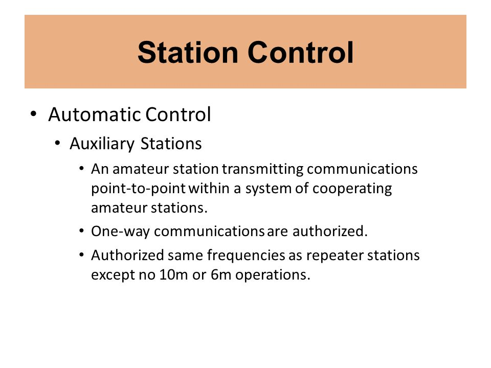 Station Control Automatic Control Auxiliary Stations