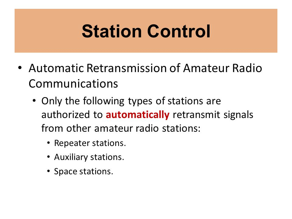 Station Control Automatic Retransmission of Amateur Radio Communications.
