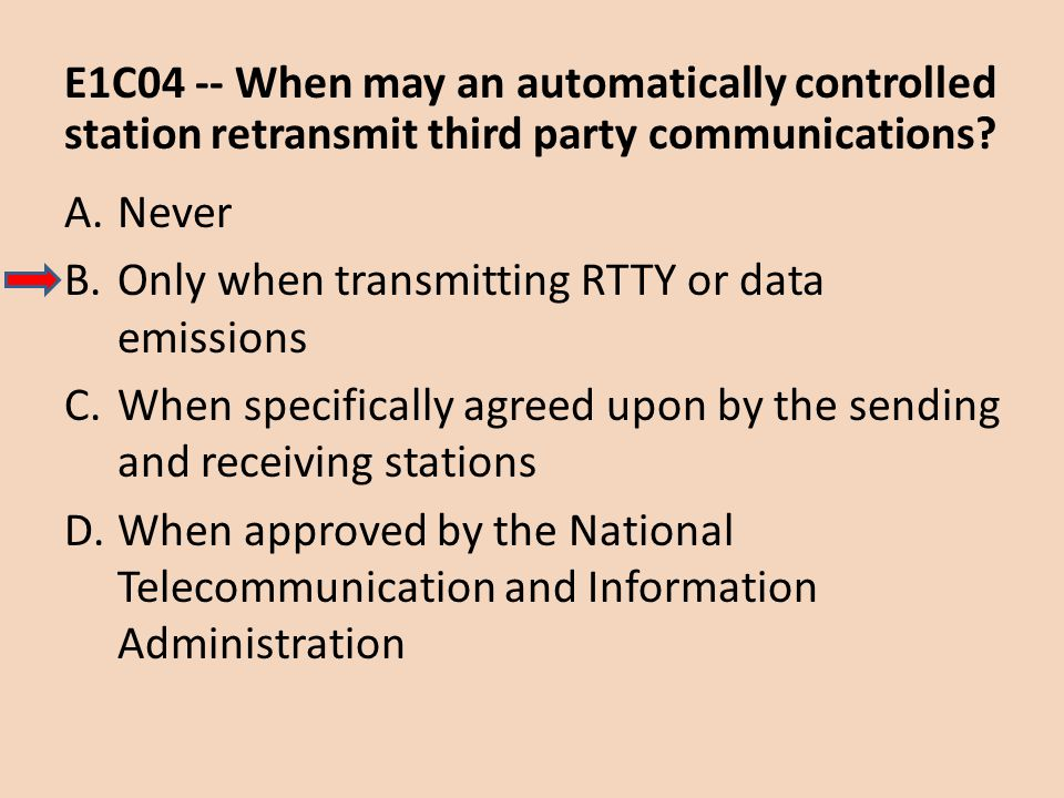 E1C04 -- When may an automatically controlled station retransmit third party communications