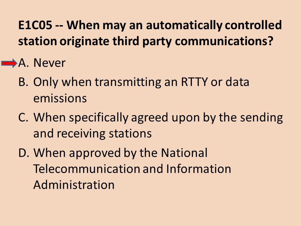 E1C05 -- When may an automatically controlled station originate third party communications