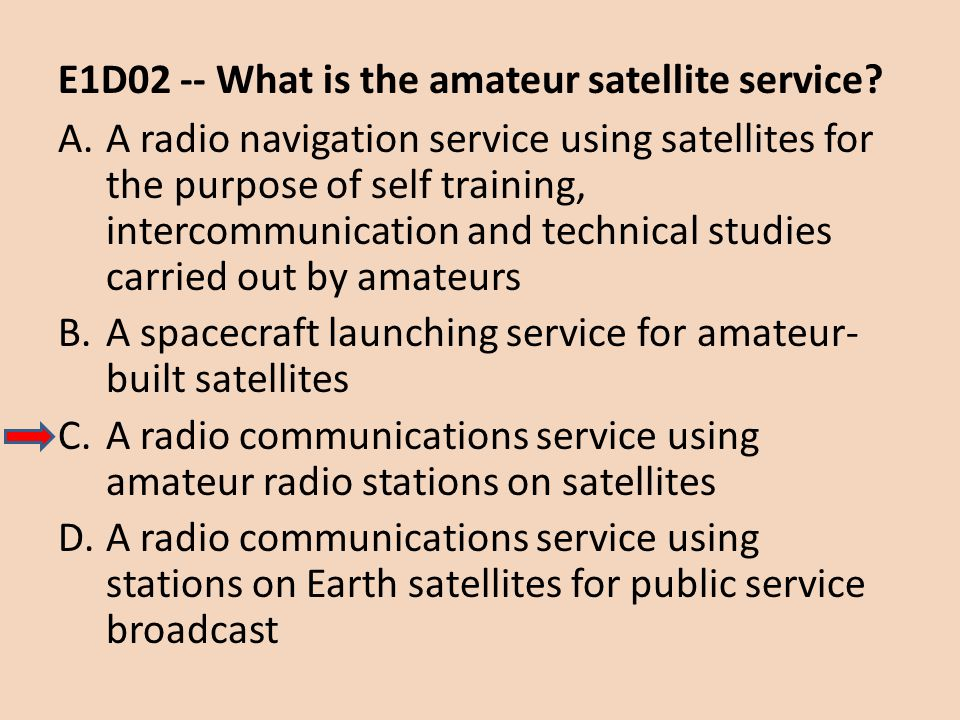 E1D02 -- What is the amateur satellite service