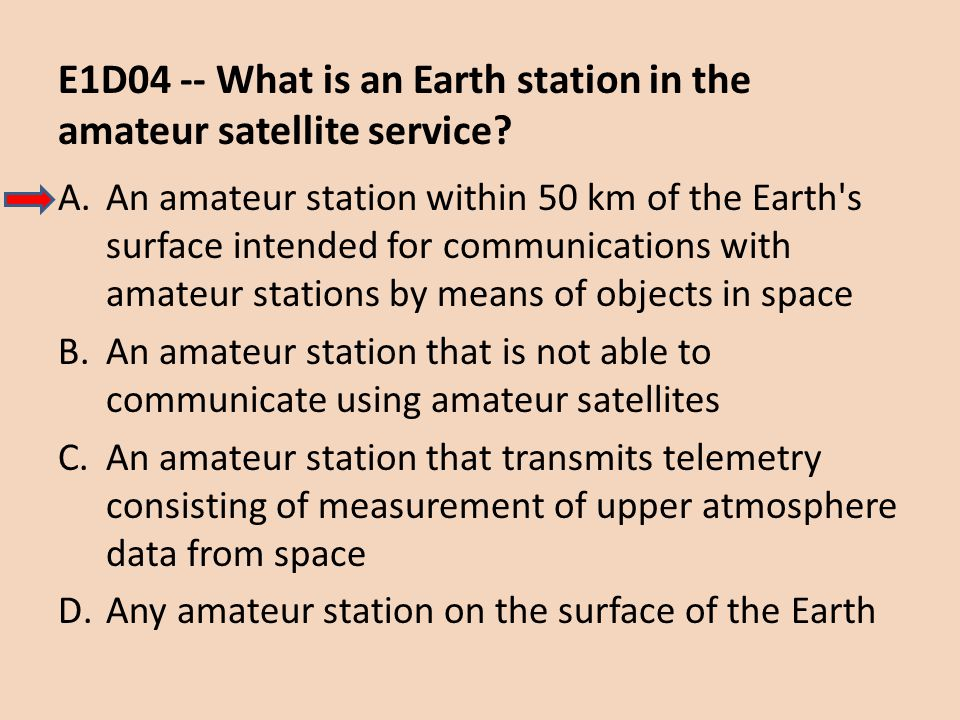 E1D04 -- What is an Earth station in the amateur satellite service