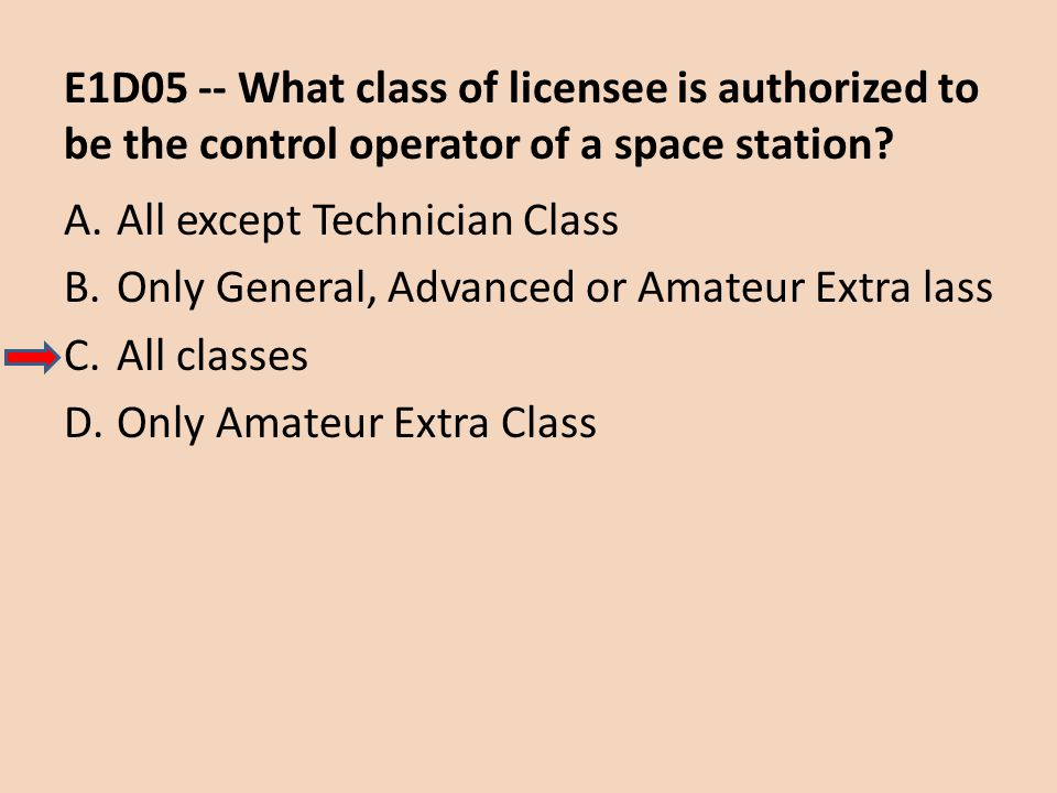 E1D05 -- What class of licensee is authorized to be the control operator of a space station