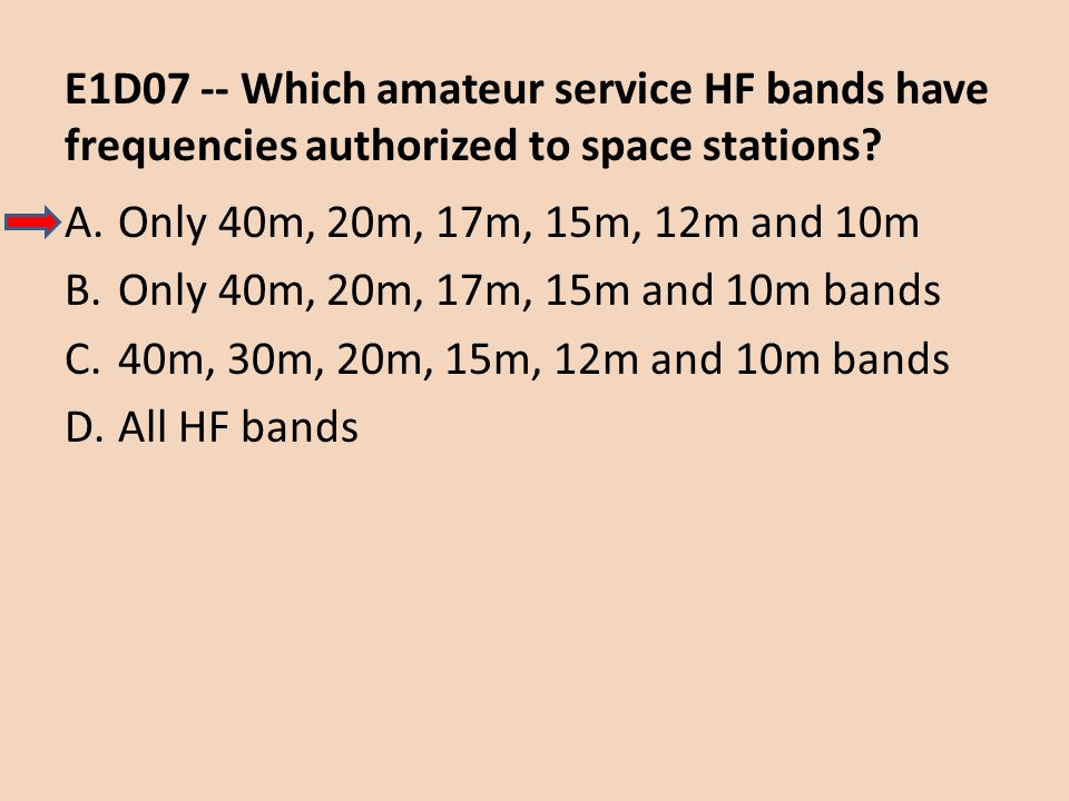 E1D07 -- Which amateur service HF bands have frequencies authorized to space stations