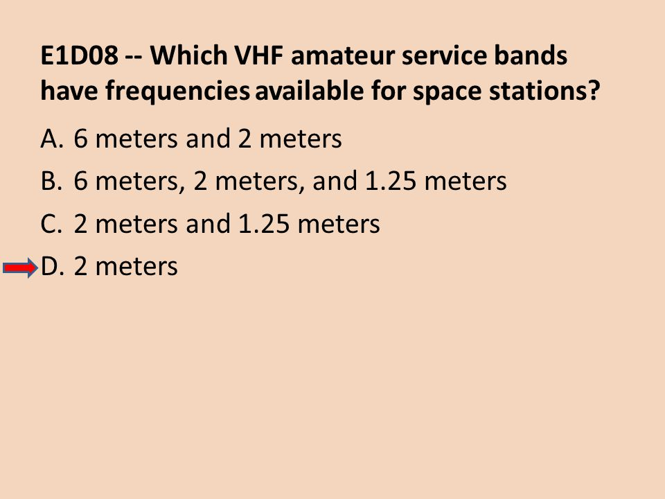 E1D08 -- Which VHF amateur service bands have frequencies available for space stations