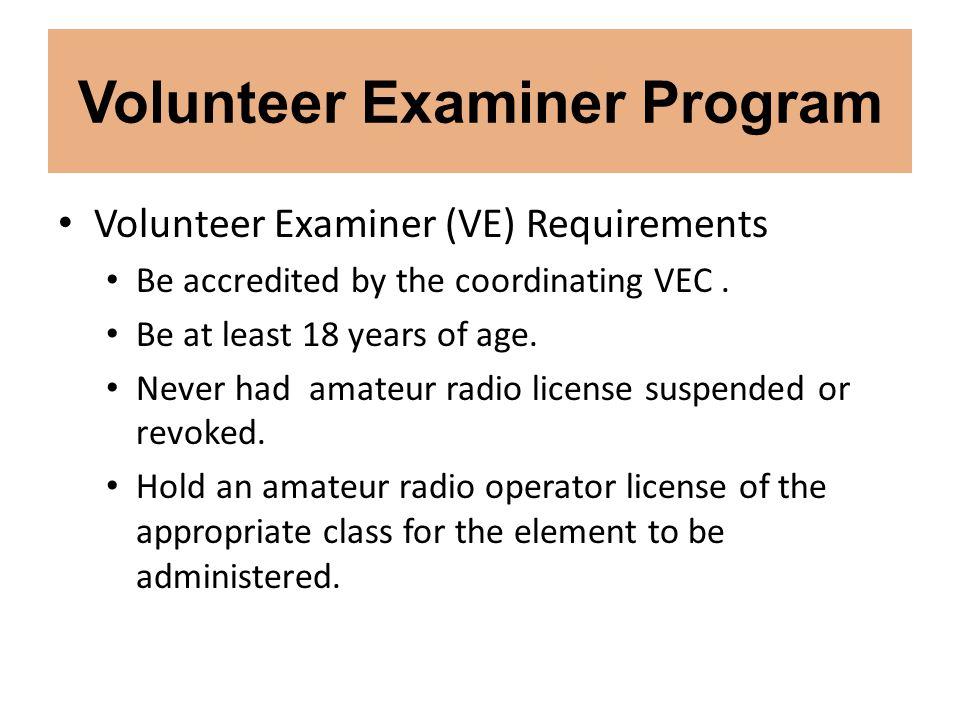 Volunteer Examiner Program
