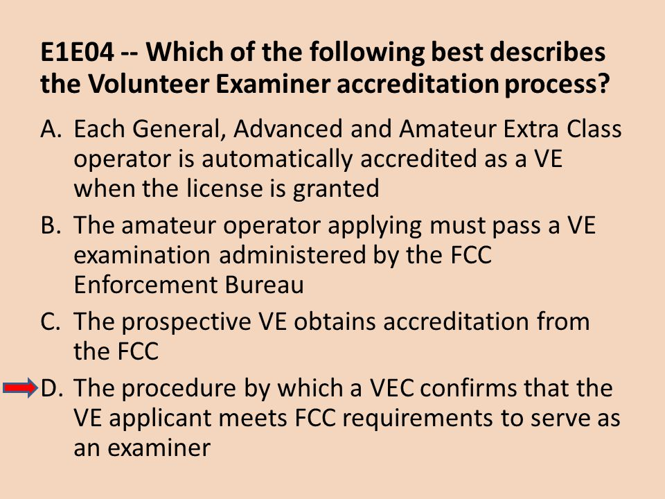 E1E04 -- Which of the following best describes the Volunteer Examiner accreditation process