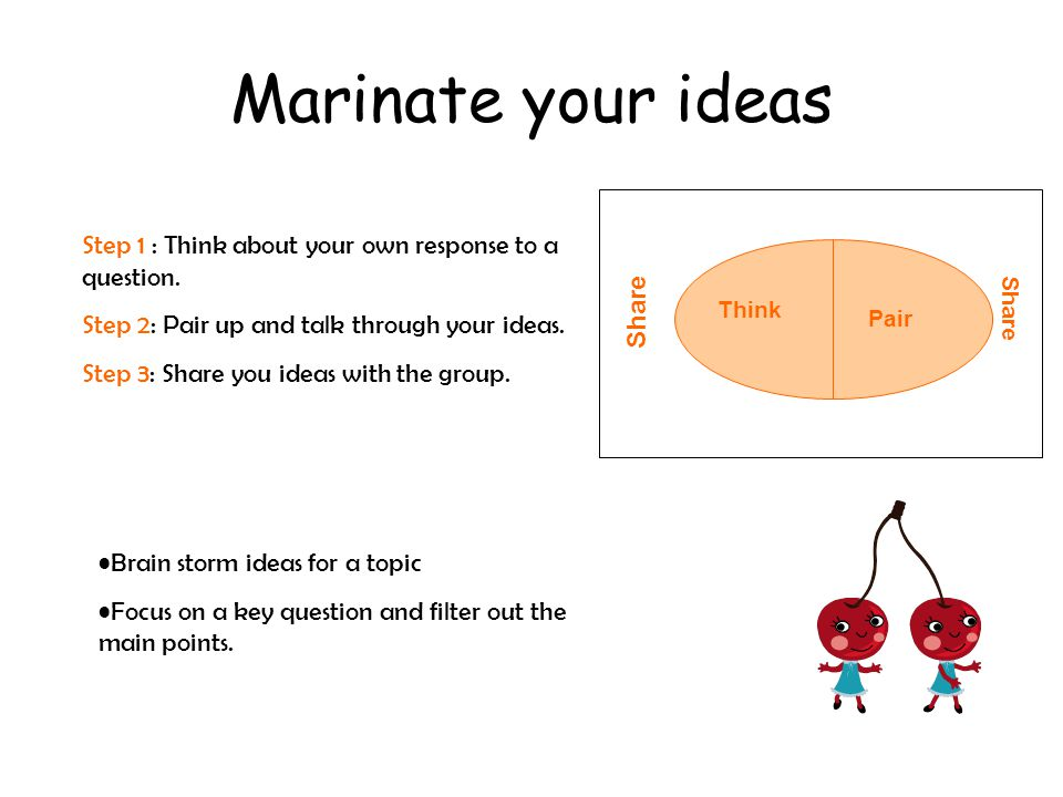 Marinate your ideas Step 1 : Think about your own response to a question. Step 2: Pair up and talk through your ideas.