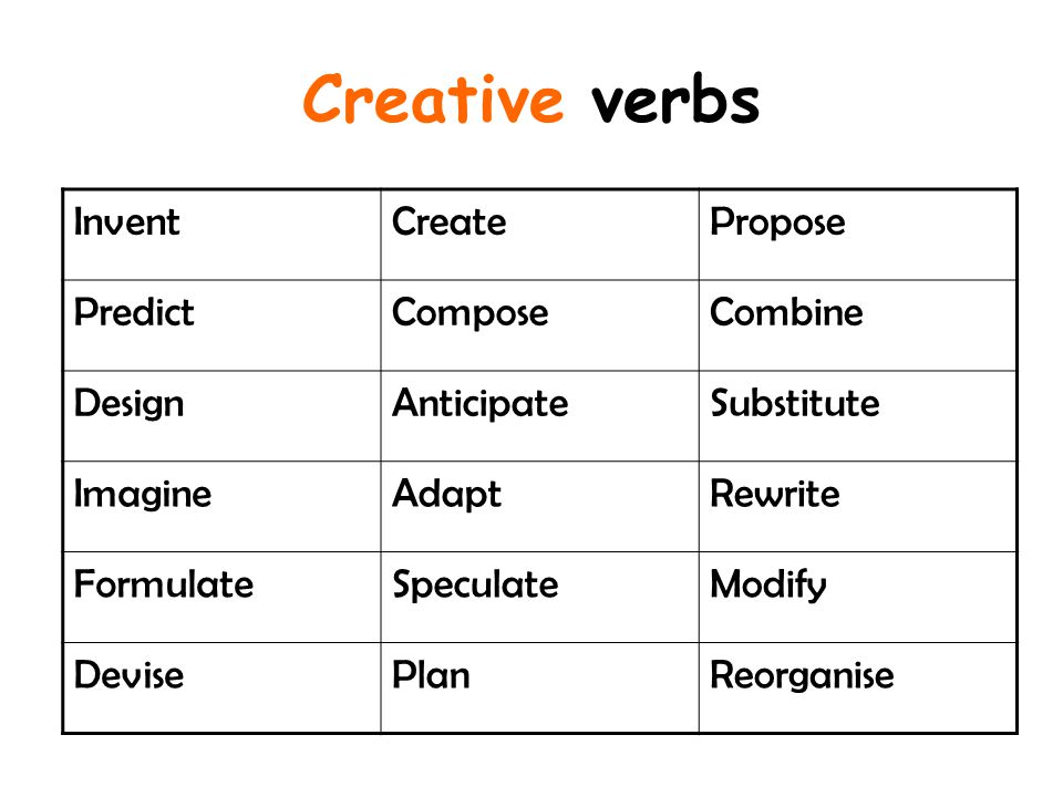 Creative verbs Invent Create Propose Predict Compose Combine Design