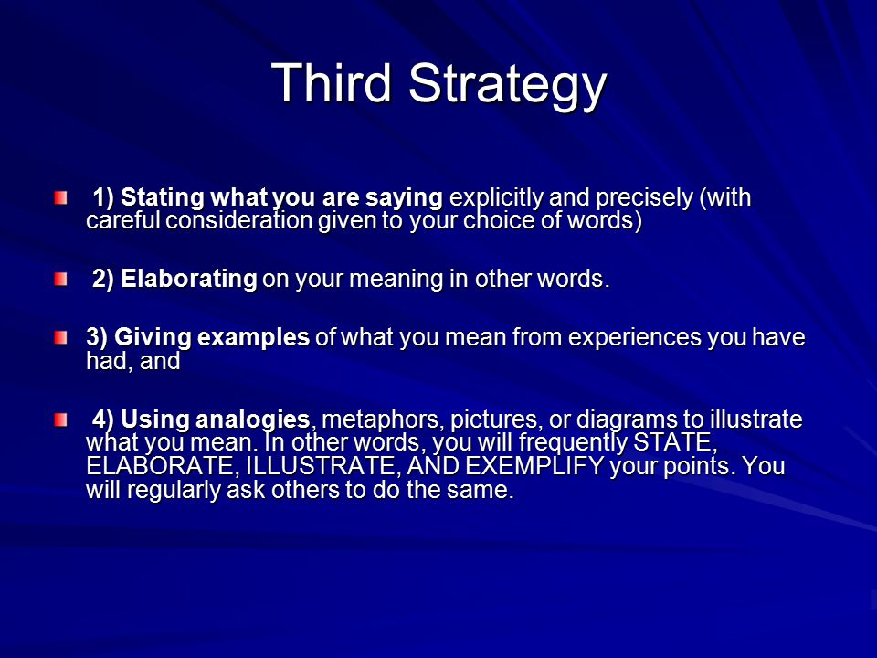 Third Strategy 1) Stating what you are saying explicitly and precisely (with careful consideration given to your choice of words)