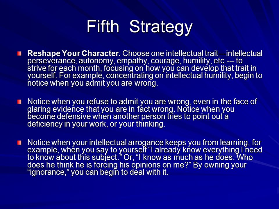 Fifth Strategy
